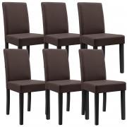 [en.casa]® 6 sillas tapizadas (marrón - mate) (alta calidad) con patas de madera maciza / piel sintética / elegantes / Set ahorro