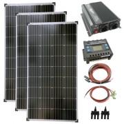Komplett szett 3x130 wattos napelem + 1500 wattos inverter + töltővezérlő