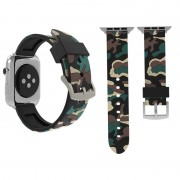 Voor Apple Watch serie 3 & 2 & 1 42mm Fashion Camouflage patroon siliconen horloge Strap(Apricot)