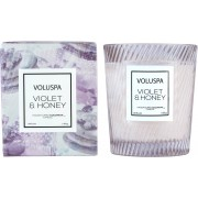 Voluspa Macaron Violet & Honey Boxed Textured Glass Candle 184 g