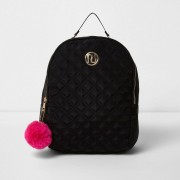 River Island Girls Black quilted pom pom backpack (One Size)