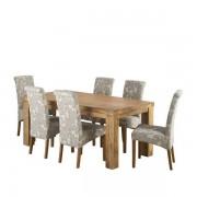 Oak Furnitureland Natural Solid Mango Dining Sets - 6ft Dining Table with 6 Chairs - Mantis Light Range - Oak Furnitureland