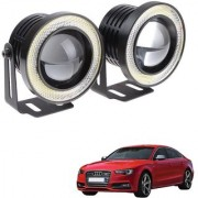 Auto Addict 3.5 High Power Led Projector Fog Light Cob with White Angel Eye Ring 15W Set of 2 For Audi S5