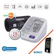 Tensiometru digital de brat OMRON M400 Comfort, 2 utilizatori, validat clinic, LED-uri avertizare, manseta larga + Glucometru Fora GD50