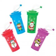 Christmas Cups With Straws - 4 Plastic Mugs with bendy straw in 4 assorted colours and festive designs. Cup 14cm high.