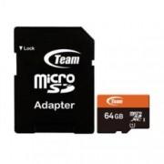 64GB MicroSDXC с адаптер, Team Group, Class 10 UHS-I, скорост на четене 80 MB/s, скорост на запис от 15 MB/s