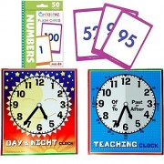 Creative Teaching Materials - 2 Time telling Clocks - Daytime Clock and Nighttime Clock with Teaching Clock and Numbers Flash Cards with Blue zipper Clock carrying bag