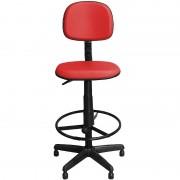 Cadeira Alta Caixa Vermelha Fixa Giratória com Regulagem e Apoio Pés - Pethiflex