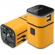 Energía del cargador del adaptador internacional Convertidor Mundial 94V0 PC USB para PDA amarillo del ordenador