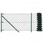 [pro.tec]® Set completo valla cerca - malla de alambre de acero galvanizado (1,25m x 15m) verde - incluye postes, puntales, anclajes y soporte