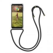kwmobile Funda con Cuerda Compatible con Samsung Galaxy A7 (2018) Carcasa Transparente de TPU con Cuerda para Colgar en el Cuello