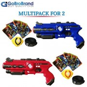 GoBroBrand Laser Tag Gun Toy Blast Set - The Lazer tag Gun set includes 4 Team player settings, 2 guns 2 Badges, 2 Belts, 10 Cards, Best Toy Gift Kids For Boys Girls age 3, 4, 5, 6years - 12yrs old