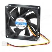 3-Pin ordenador PC Caso refrigerador ventilador de refrigeracion - Negro (8 * 8 cm)