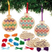 Baker Ross Christmas Bauble Wooden Cross Stitch Decoration Kits (Pack of 5)