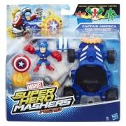 Avengers, Micro-figurina cu vehicul Super Hero Mashers - Captain America