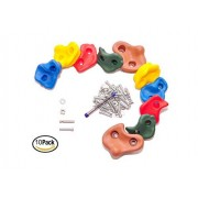 """10 Large Kids Rock Climbing Holds with Mounting Hardware for up to 1.25"""" Installation, Indoor Outdoor Playsets, Children Playground & Swing Set By Rocksela"""