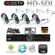 Kamerové sytémy HD SDI - 4x 1080P kamery s 30m IR + HD SDI DVR