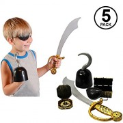 Funny Party Hats Pirate Accessories - 5 Pc Set Hook Sword Treasure Chest Toys