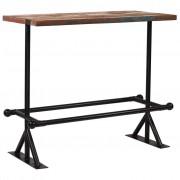 vidaXL Mesa de bar madeira recuperada maciça multicor 120x60x107 cm
