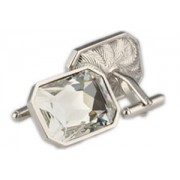 Mousie Bean Crystal Cufflinks Large Rectangle 085 Clear