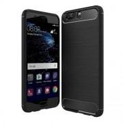 Style Borstad Cover i mjukt TPU och Carbon för Huawei P10 Plus - Svart