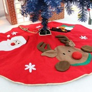 Electroprime® Christmas Red Tree Skirt with Snowflake Reindeer Santa Snowman Carpet 100 cm