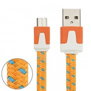 Micro USB Laddare med tygkabel 3m Orange