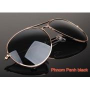Ochelari de soare lentile negre si rama aurie