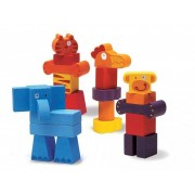 DJECO Zoo drewniane klocki zwierzęta dla dzieci 2 lata +, DJ06311