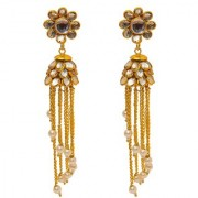 Jewar Mandi Earring Kundan Pearl Polk Gold Plated Look Ad Cz Gemstones Dangle Jhumka/Jhumki Jewelry for Women Girls 8260