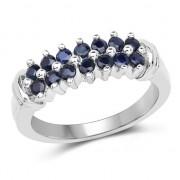 Inel din argint placat cu rodiu si safire albastre
