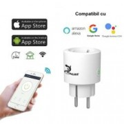 Priza WiFi Zonure Smart Home 2.4GHz 16A 3600W wireless rotunda