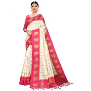Indian Beauty Women's Pink Color Mysore Silk Printed Saree Border Tassels With Blouse Piece(WEDDING-JHUMKA-PINK_Free Size)