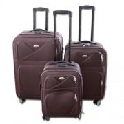 Max K989hn kufr cestovní textilní set 3ks hnědý