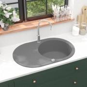 vidaXL Lava-louça com 1 cuba oval cinzento