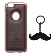 "Mustache Macho Key Chain + Exclusive Luxury PU Leather Back with Metal Bumper Case Cover for iPhone 6 4.7"" inch (Brown)"