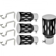 Hans Enterprise Black Set of 4 Stainless Steel Single Curtain Rod Bracket pack of 8