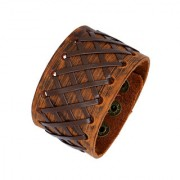 The Jewelbox Stitched Braided Tan Brown 100 Genuine Handcrafted Leather Wrist Band Strap Biker Bracelet Boys Men