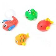 Badleksaker fyra glada baddjur