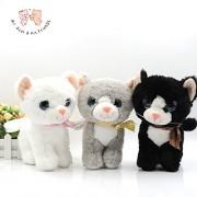 Mr. Bear & His Friends 20CM Standing Cat Plush Toys Stuffed Big Eyes Cats Animals Kawaii Kitten Puffy Neko Soft Kids Toys for Children Gifts Car Decor - Grey