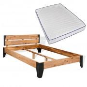 vidaXL Легло с матрак от мемори пяна акация масив и стомана 140x200 см