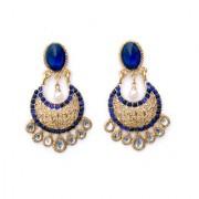 Indian Style Beaded Dangle Drop Fashionable Earrings Traditional Jhumka Jhumki Earrings for Women 16 BLUE