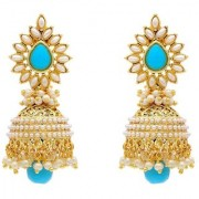 Jewels Gold Alloy Party Wear Wedding Contemporary Fashion Designer Jhumki Earring Set For Women Girls