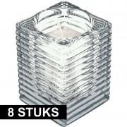Candles by Spaas 8x Transparante kaarsenhouders met kaars 7 x 10 cm 24 branduren