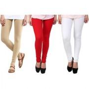 Stylobby Beige Red And White Kids Legging Pack Of 3