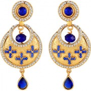 Sukai Jewels Blue Pearl Cultured Gold Plated Zinc Cz AD Studded Dangle and Drop Earring for Women & Girls [SER242G]