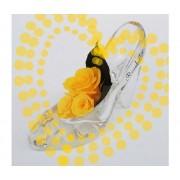 ROSABELLA® Tre Rose Stabilizzate Su Scarpa Tacco E 3 Strass - Ros-Stab-Shoe3