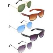 Zyaden Aviator, Aviator, Aviator, Wayfarer, Wayfarer Sunglasses(Green, Blue, Black, Brown, Black)