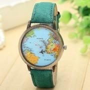 Febo Fashion Green Colour World Map Mini World Watch