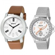 Skemi Analog Round White Dial Men-Woman Watch / Fashionable Couple Combo Watch / Watches For Couple Combo-052